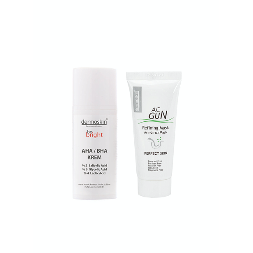 Dermoskin Be Bright AHA BHA Krem 33 ml + Acgun Arındırıcı Mask 30 ml  2'li Avantaj Paket