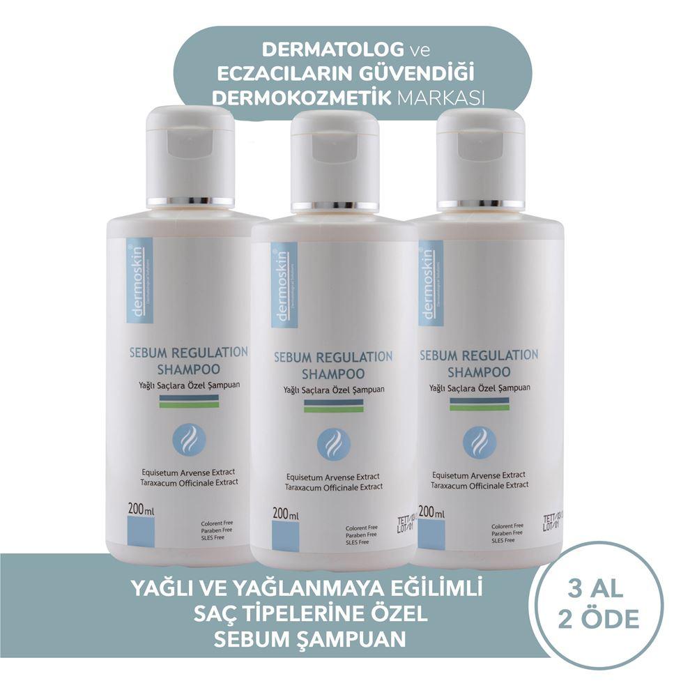 Dermoskin Yağlı ve Yağlanmaya Eğilimli Saçlara Özel Sebum Şampuan 3 Al 2 Öde